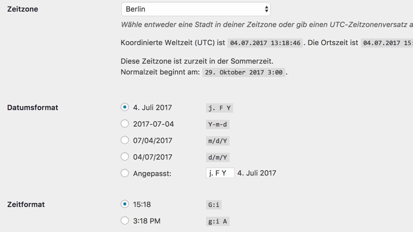 WordPress Einstellungen für Zeit und Datum