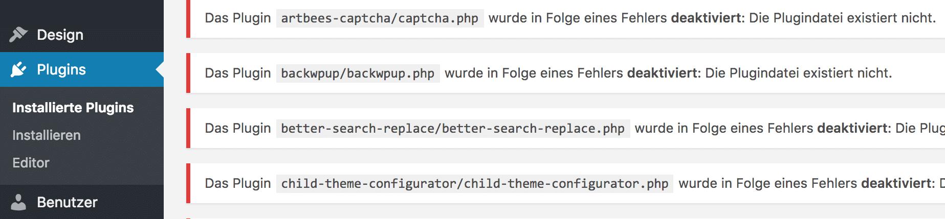 WordPress Plugins automatische Deaktivierung