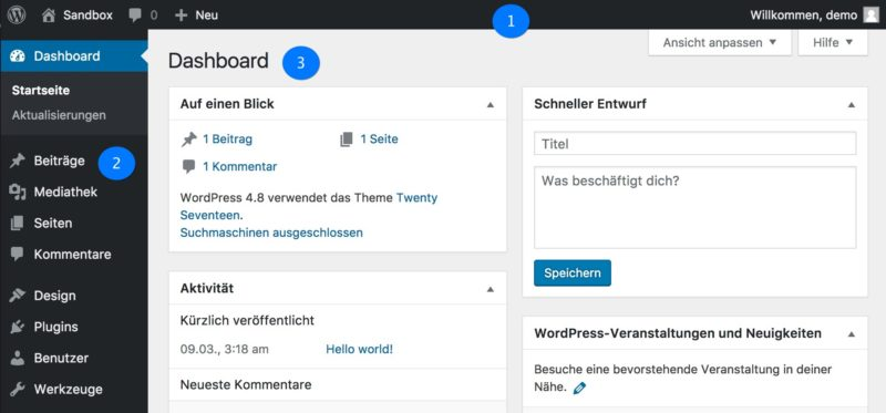 WordPress Administrationsbereich Dashboard