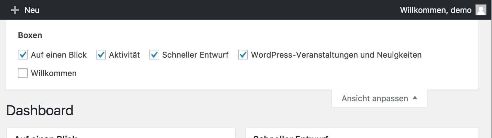 WordPress Option 'Ansicht Anpassen'