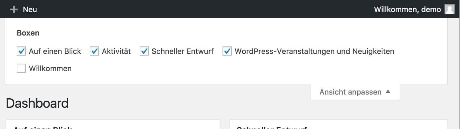 WordPress Option 'Ansicht Anpassen'