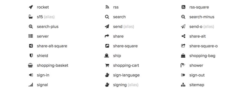Font Awsome Icon Auswahl