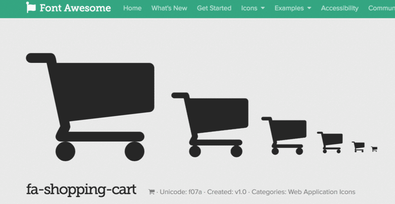 Font Awsome Symbol Shopping Cart