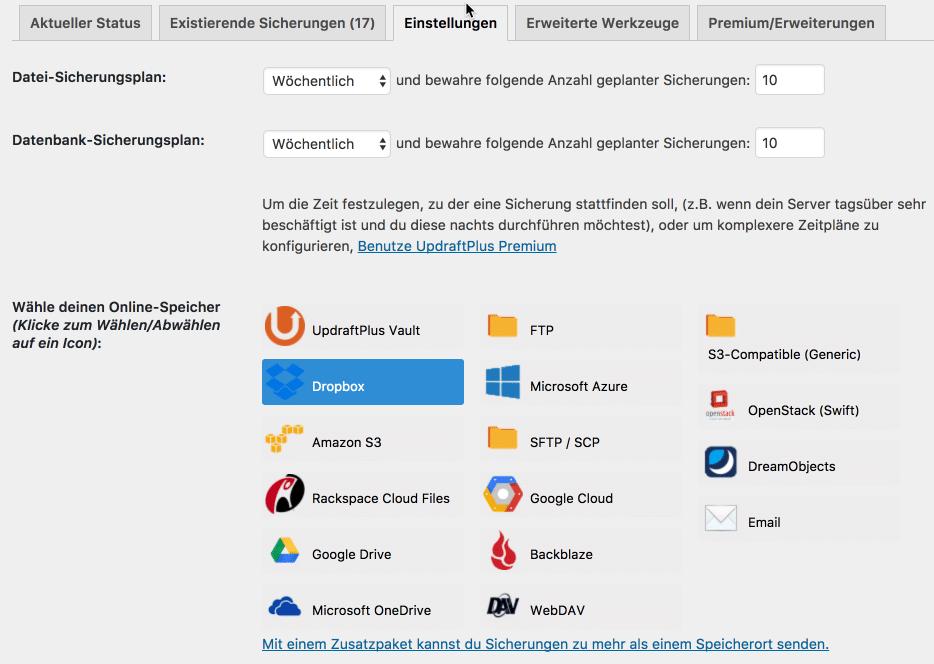 Tutorial: WordPress Backup mit UpdraftPlus 1