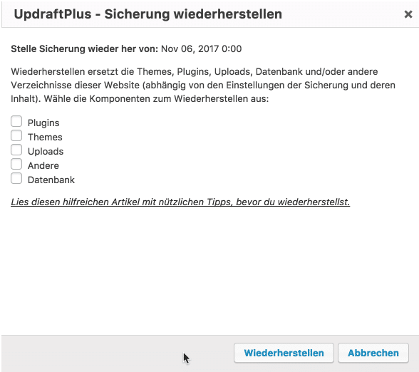 Tutorial: WordPress Backup mit UpdraftPlus 5