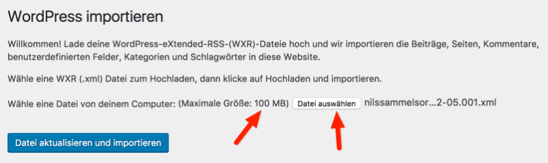 WordPress Dateien importieren: Upload Limit