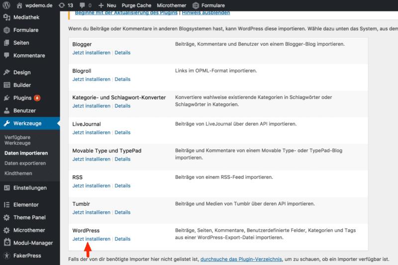 WordPress: Daten importieren