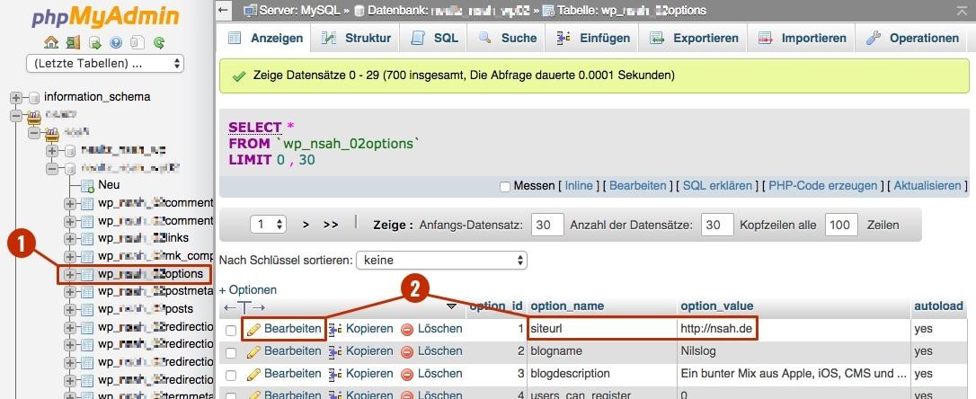 WordPress Domain ändern 2