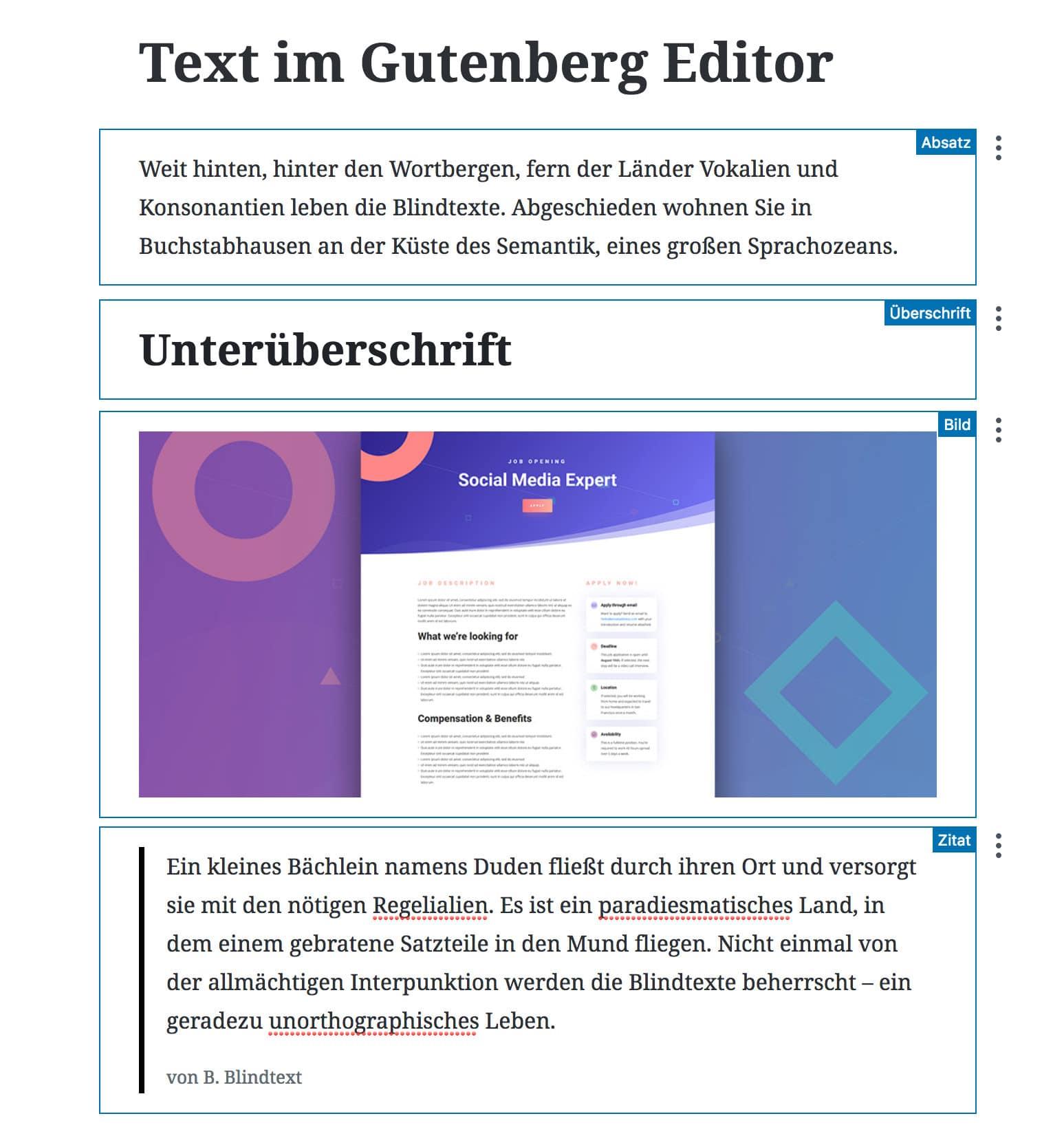 Gutenberg Editor: Blöcke