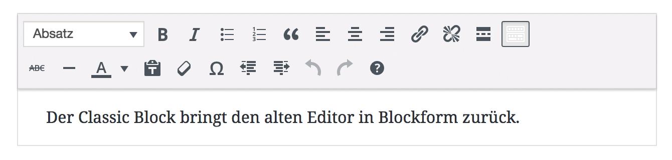 Gutenberg Editor: Classic Block