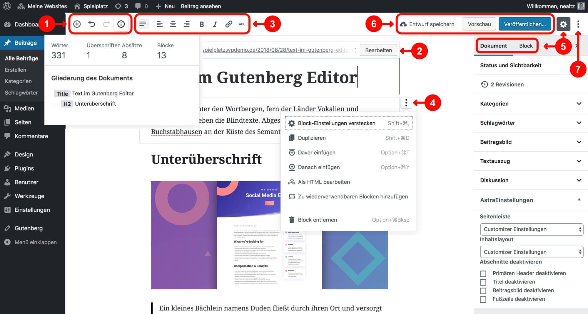 Gutenberg Editor: Einstellungen