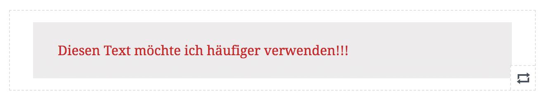 Gutenberg Editor: Wiederverwendbarer Block