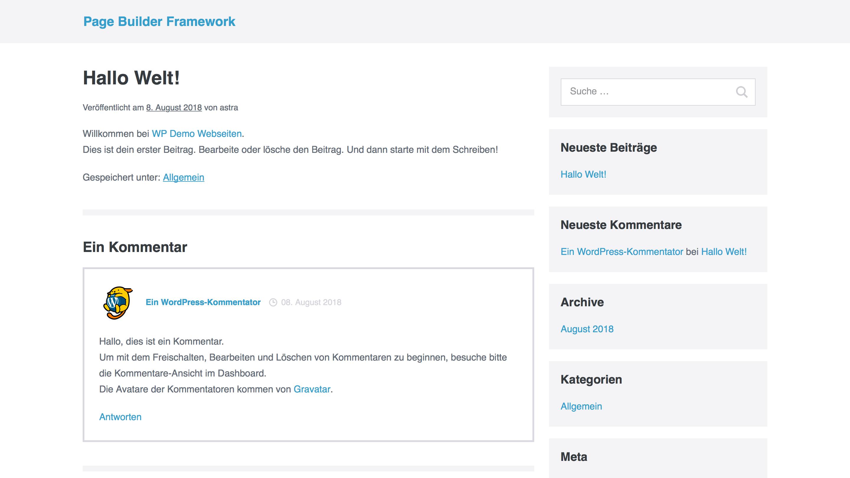 Page Builder Framework: Direkt nach der Installation