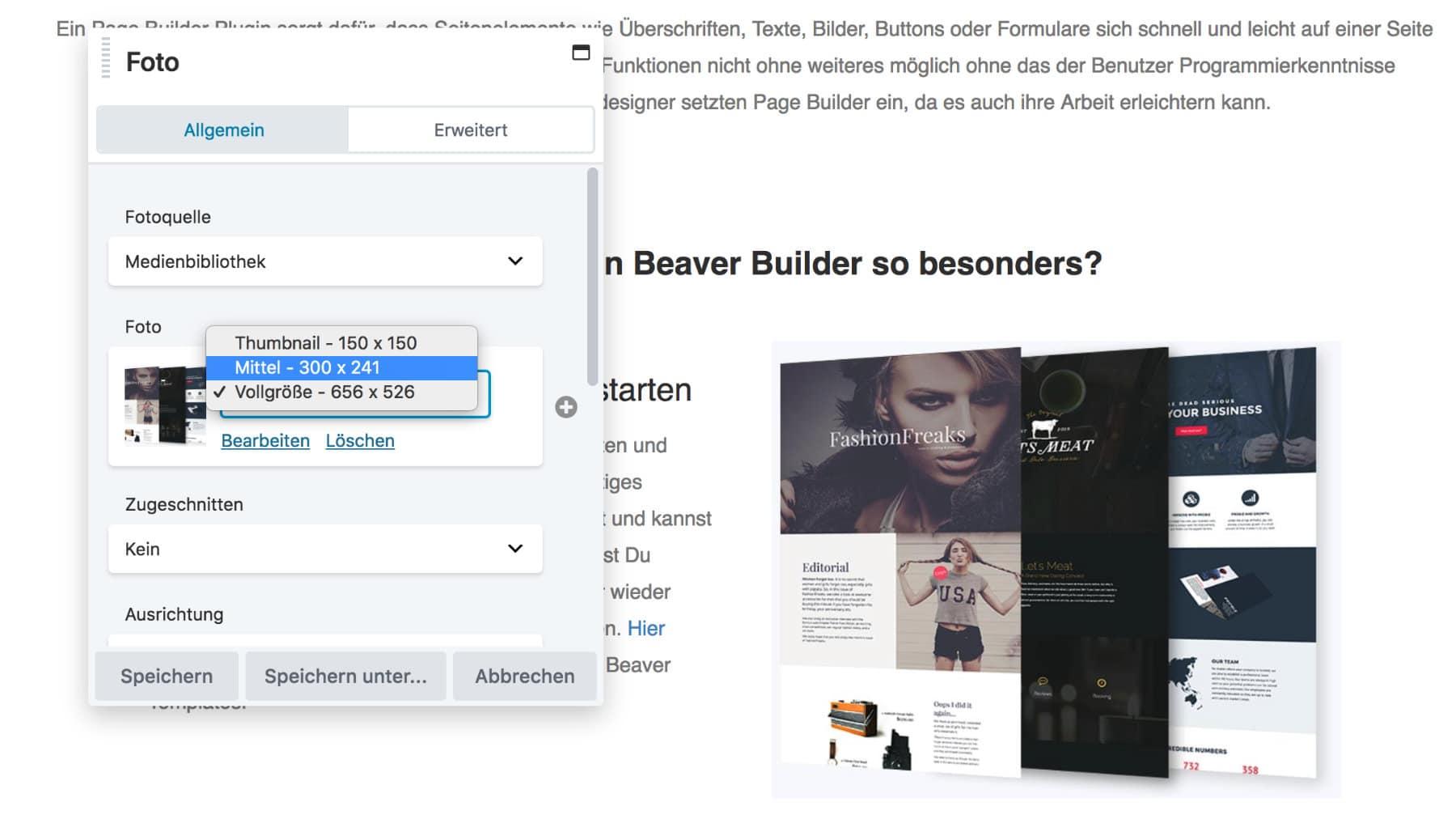 Beaver Builder Auswahl Bildgröße