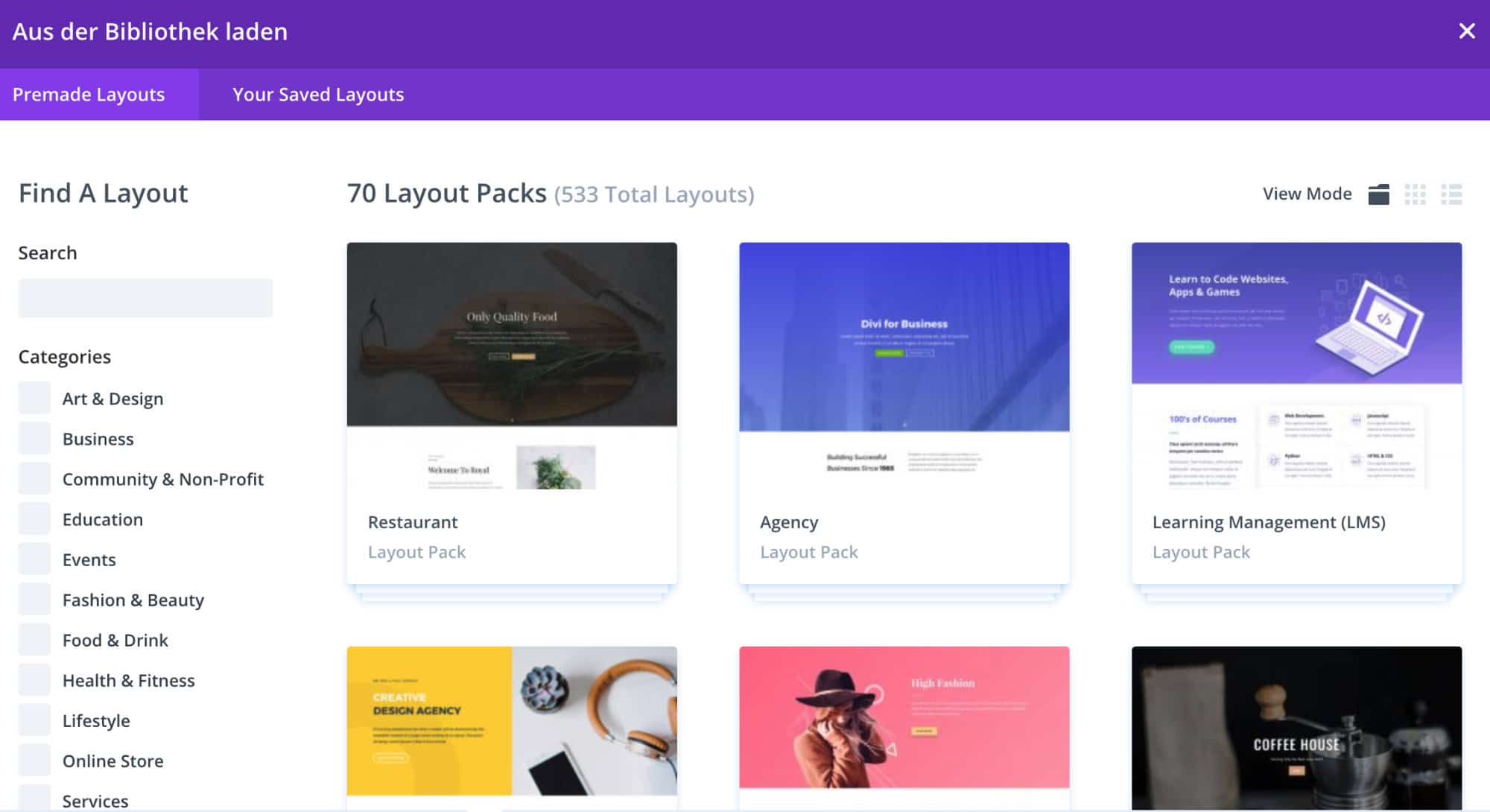 Divi Theme Layout Bibliothek