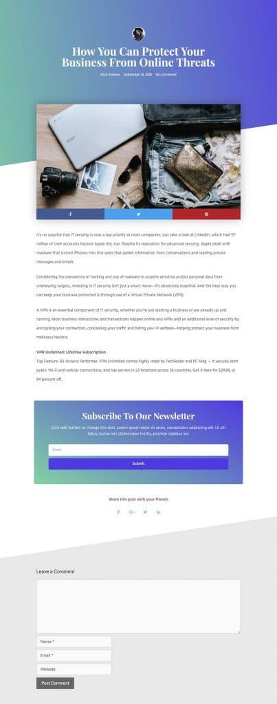 Elementor Blogansicht: Variante 1