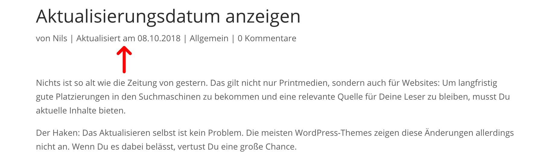 WordPress Artikel Datum aktualisiert statt des Veröffentlichungsdatums anzeigen