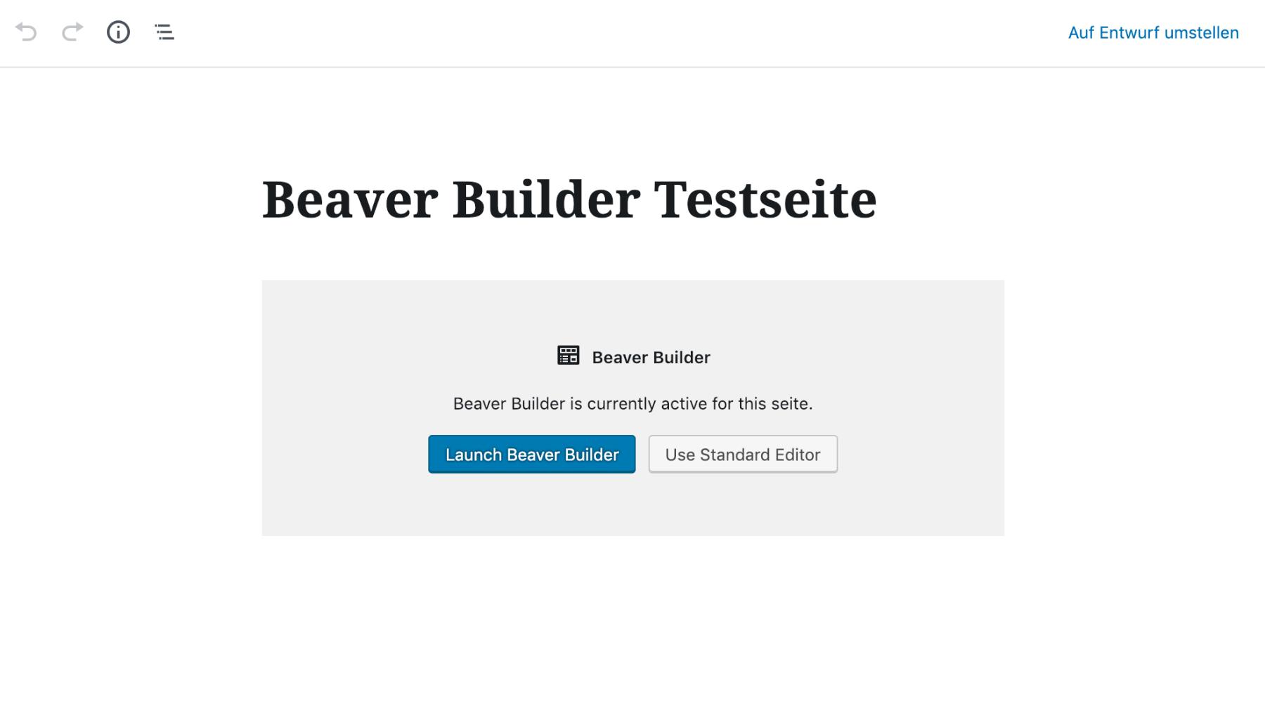 Beaver Builder Gutenberg Editor Ansicht