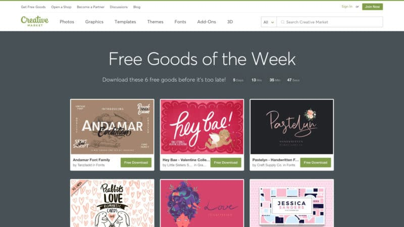 Creative Market Angebot: 6 Free Downloads