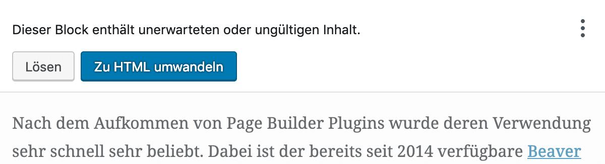 WordPress Gutenberg Editor: unerwarteter ungültiger inhalt