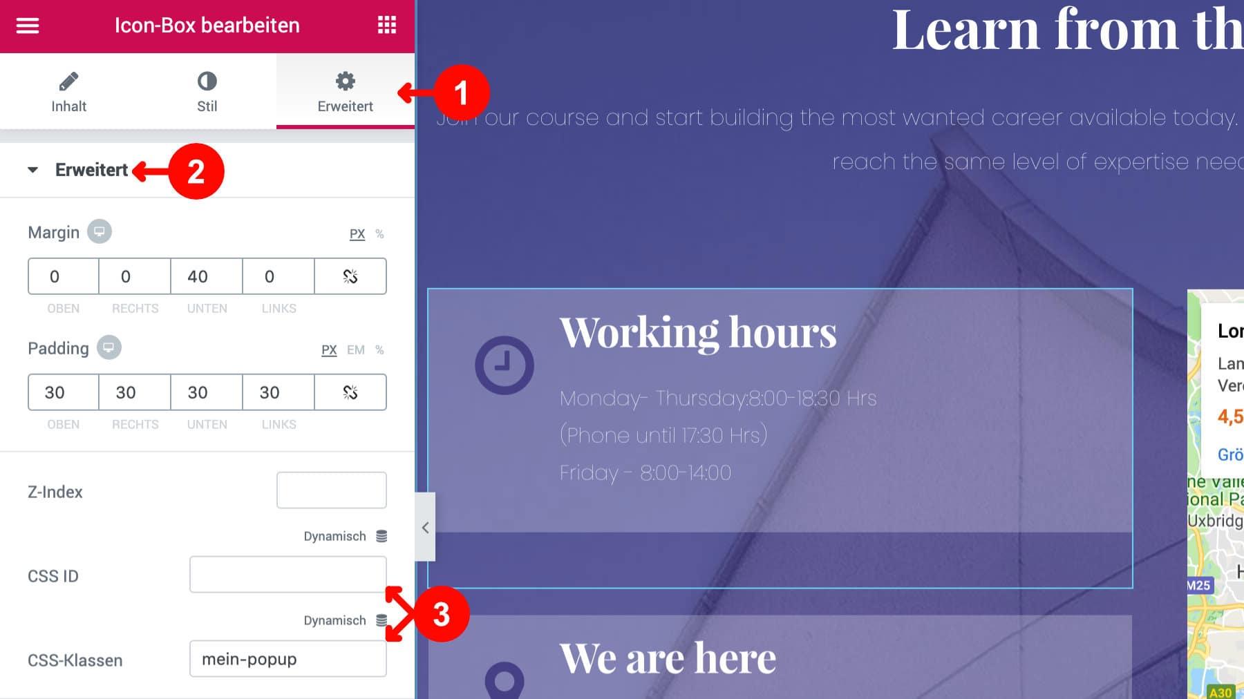 Elementor Popup Builder CSS Klasse vergeben