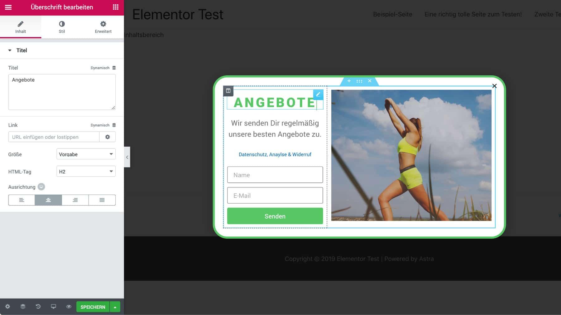 Elementor Popup Builder Editor Inhalt erstellen