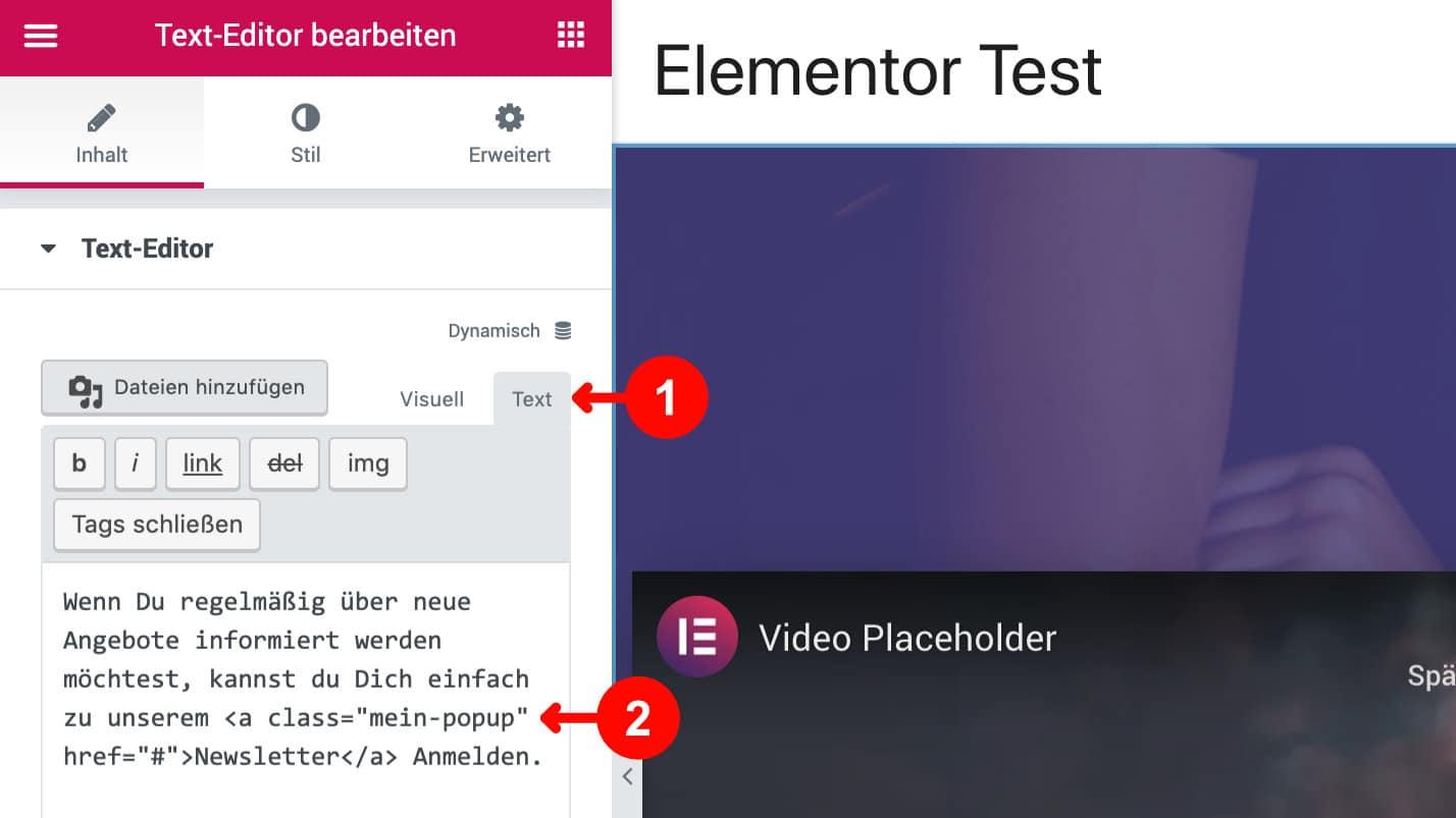 Elementor Popup Builder HTML CSS Klasse vergeben