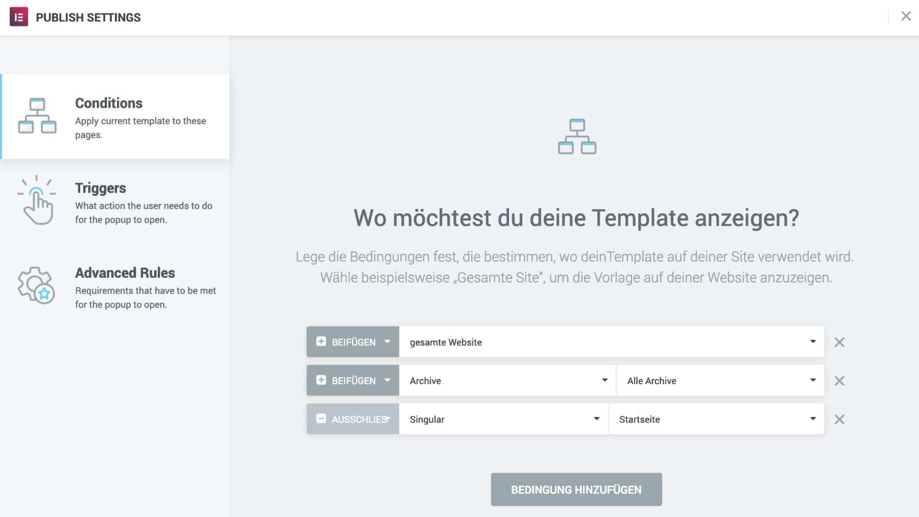 Elementor Popup Builder Veröffentlichung Einstellungen Bedingungen