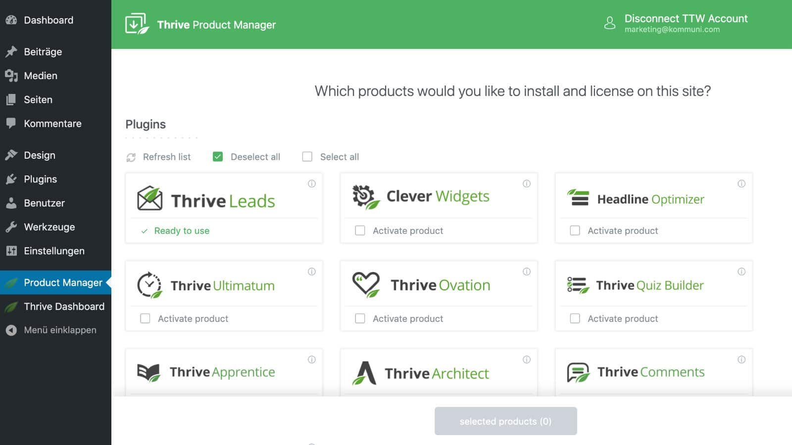 Thrive Leads Installation Product Manager