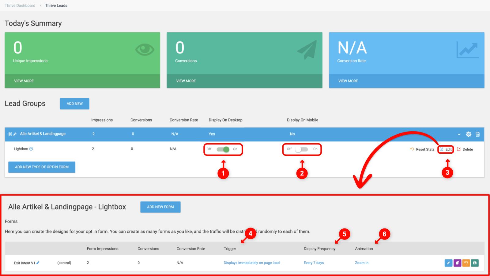 Thrive Leads Optin Anzeige konfigurieren