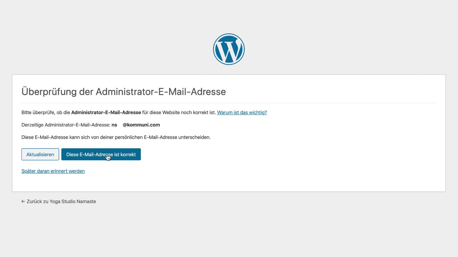 Blog erstellen: WordPress Email Check