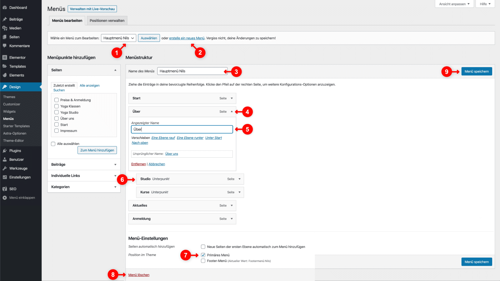 WordPress Menü anpasse