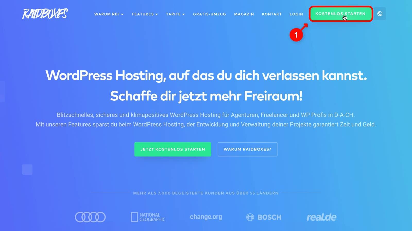 WordPress Website erstellen: Raidboxes Anmeldung 1
