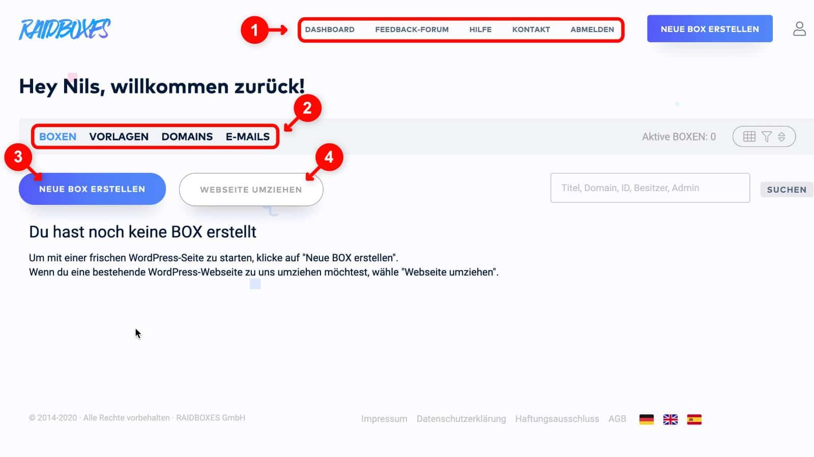 WordPress Website erstellen: Raidboxes Dashboard