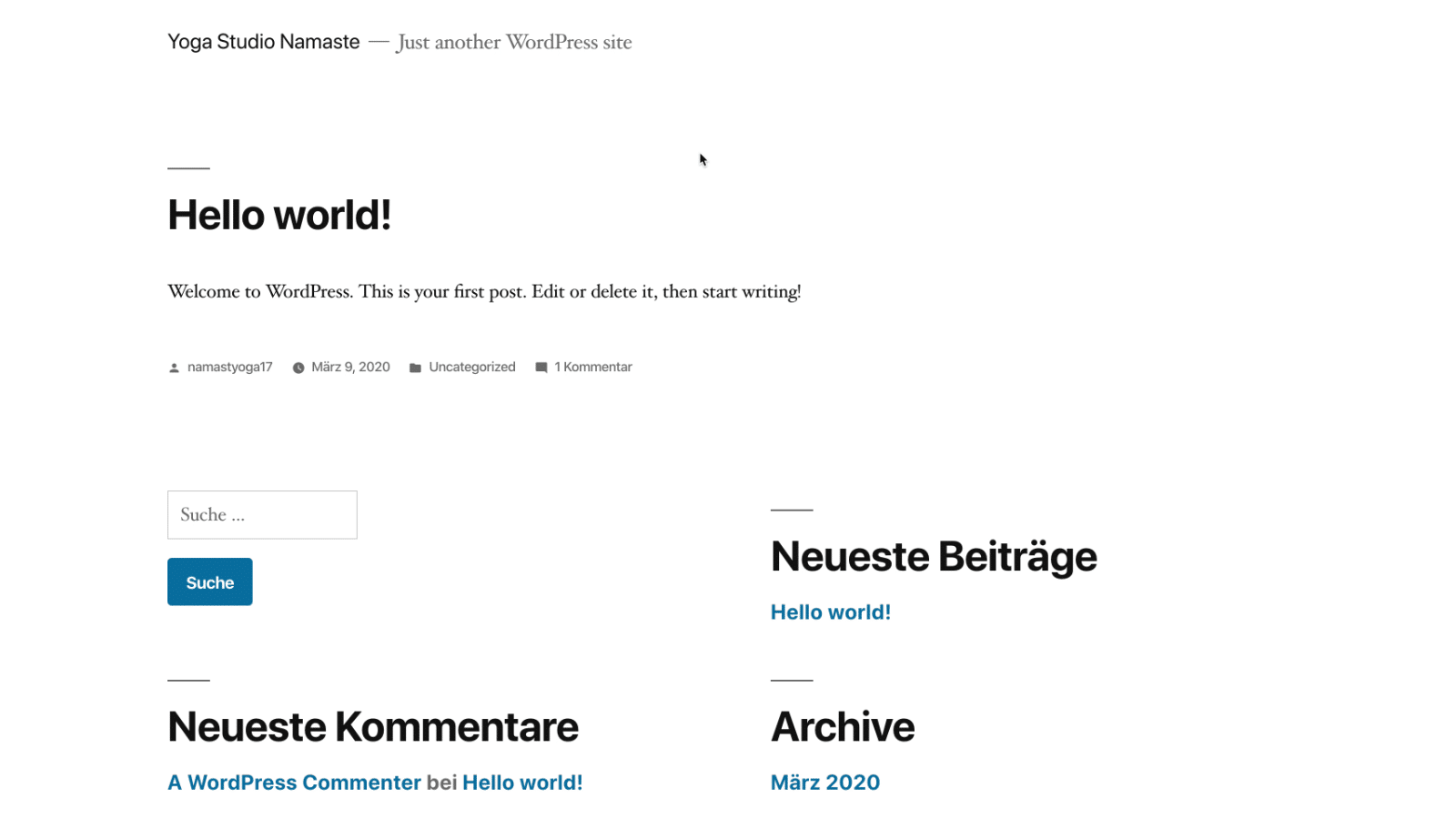 WordPress Website frisch nach Installation