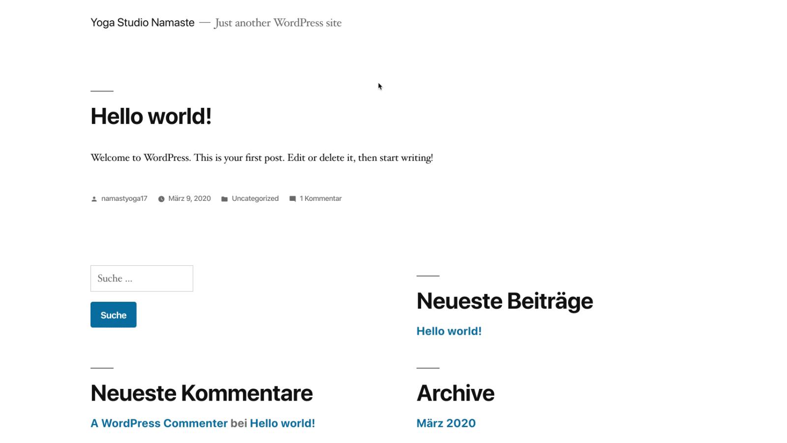 WordPress Website frisch nach Installation